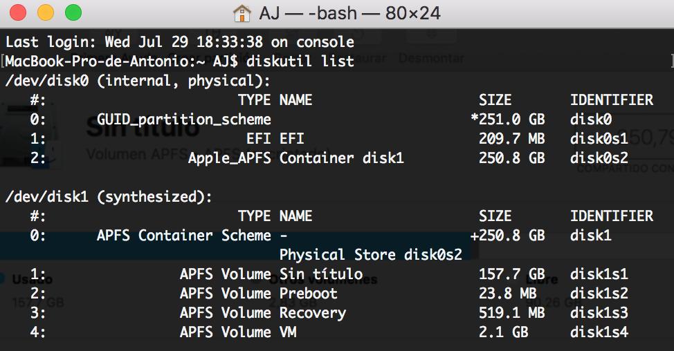 Terminal de Mac para formatear disco duro.