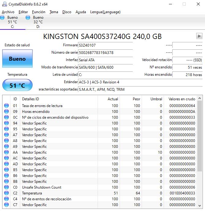Ejemplo de CristalDiskInfo para testear el disco duro