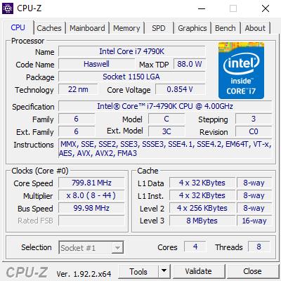 Ejemplo de CPU-Z con procesador