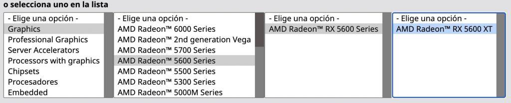 Ejemplo del filtrado para descargar los drivers de AMD
