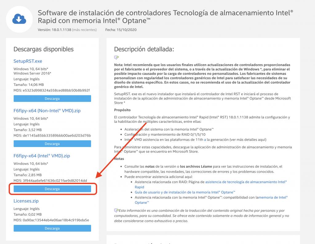 Descargar F6flpy-x64 (Intel* VMD).zip
