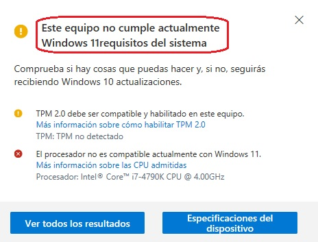 Incompatibilidad con Windows 11