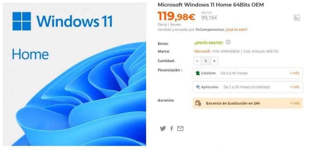 Precio de Windows 11 Home